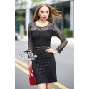 Black lady striped lace dress with belt