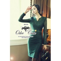 High brand classic green lace dress